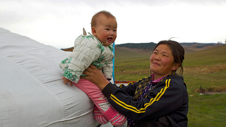 Mongolian mother and child